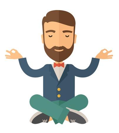 cerrando negocio: Un hombre cerró los ojos pensando en cómo hacer crecer el negocio. Concepto de negocio. Un estilo contemporáneo. Aislado Vector diseño plano ilustración de fondo blanco. Diseño Square.