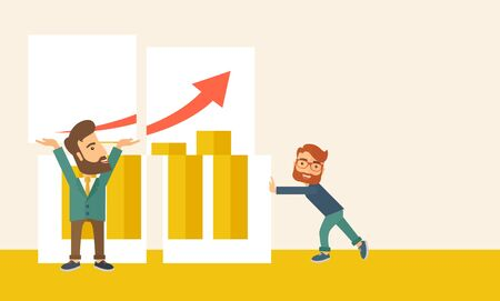 Two happy businessman are both successful in business that shows in the graph. Business growth concept. A Contemporary style with pastel palette, soft beige tinted background. Vector flat design illustration. Horizontal layout with text space in right sid