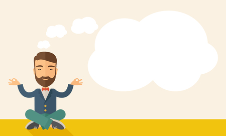 grow business: A man closing his eyes thinking about on how the business will grow. Business concept. A Contemporary style with pastel palette, soft beige tinted background. Vector flat design illustration. Horizontal layout with text space in right side. Illustration