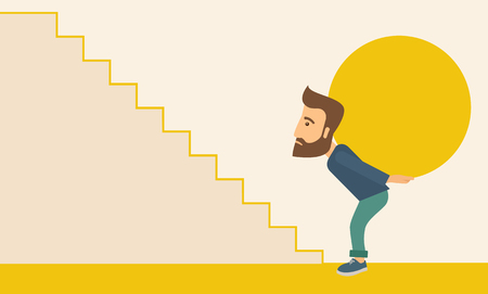uphill: A buisnessman sacrifice in carrying a big ball going up to reach the goal. A Contemporary style with pastel palette, soft beige tinted background. Vector flat design illustration. Horizontal layout. Illustration