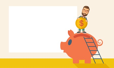 piggy: A young man saving his money by putting a coin in big piggy bank using a ladder. Saving concept. A Contemporary style with pastel palette, soft beige tinted background. Vector flat design illustration. Horizontal layout with text space in left side.