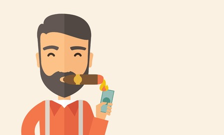 cuban cigar: A hipster smiling businessman lighting the cigar tobacco to release pressure from work. Successful business concept.  A Contemporary style with pastel palette, soft beige tinted background. Vector flat design illustration. Horizontal layout with text sapc