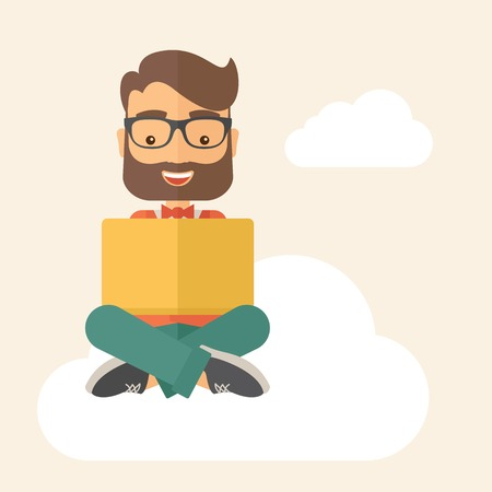 teacher and student: A Businessman having a great idea while reading a book. Business concept. A Contemporary style with pastel palette, soft beige tinted background. Vector flat design illustration. Square layout Illustration