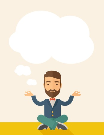 A man closing his eyes thinking about on how the business will grow. Business concept. A Contemporary style with pastel palette, soft beige tinted background. Vector flat design illustration. Vertical layout with text space on top part.