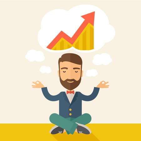 grow business: A man closing his eyes thinking about on how the business will grow. Business concept. A Contemporary style with pastel palette, soft beige tinted background. Vector flat design illustration. Square layout.