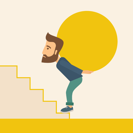 uphill: A buisnessman sacrifice in carrying a big ball going up to reach the goal. A Contemporary style with pastel palette, soft beige tinted background. Vector flat design illustration. Square layout.