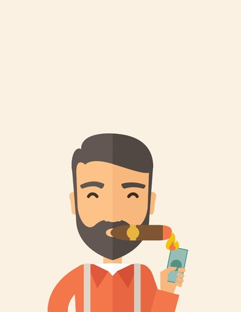 cigar smoking man: A hipster smiling businessman lighting the cigar tobacco to release pressure from work. Successful business concept.  A Contemporary style with pastel palette, soft beige tinted background. Vector flat design illustration. Vertical layout with text space  Illustration