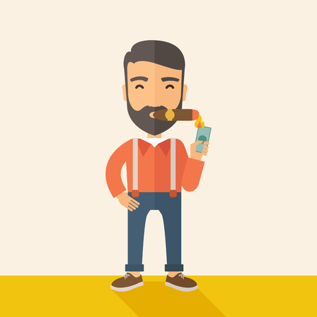cigar smoking man: A hipster smiling businessman lighting the cigar tobacco to release pressure from work. Successful business concept.  A Contemporary style with pastel palette, soft beige tinted background. Vector flat design illustration. Square layout. Illustration