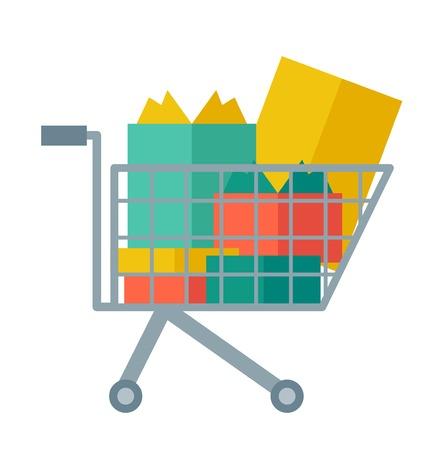 compras: Cesta de la compra lleno de bolsas y cajas de regalo. Un estilo contemporáneo. Vector diseño plano ilustración con fondo blanco aislado. planta cuadrada
