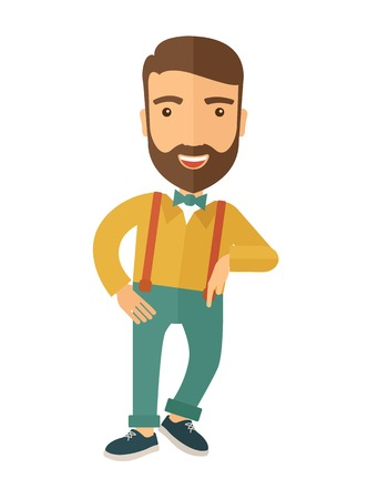 young business man: A confident handsome man standing. A contemporary style. Vector flat design illustration with isolated white background. Vertical layout Illustration
