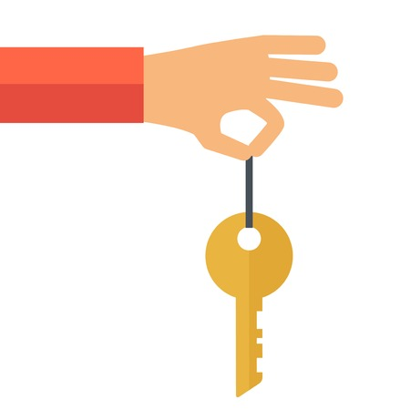 home owner: A hand holding a key. A contemporary style. Vector flat design illustration with isolated white background. square layout Illustration