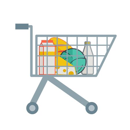 market place: A grocereies inside the supermarket cart. A contemporary style. Vector flat design illustration with isolated white background. square layout Illustration