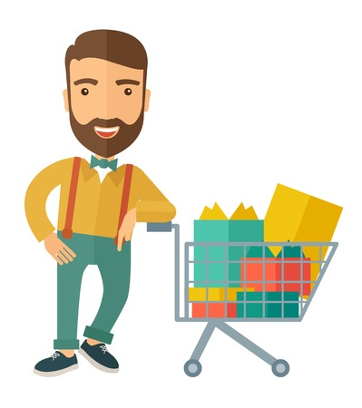 shopping cart icon: A happy man standing with his shopping cart. A contemporary style. Vector flat design illustration with isolated white background. Vertical layout