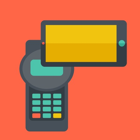 mobile banking: A credit card machine and smartphone as use for internet shopping. A Contemporary style with pastel palette, soft orange tinted background. Vector flat design illustrations. Square layout with text space in right side