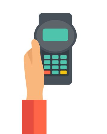 mobile banking: A hand holding the credit card machine. A contemporary style. Vector flat design illustration with isolated white background. Vertical layout