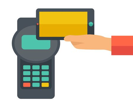 mobile banking: A credit card machine and smartphone as use for internet shopping. A contemporary style. Vector flat design illustration with isolated white background. Square layout. Illustration