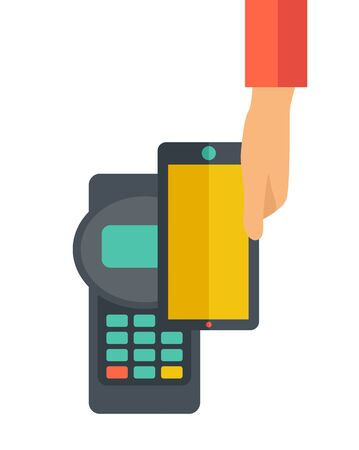 mobile banking: A credit card machine and smartphone as use for internet shopping. A contemporary style. Vector flat design illustration with isolated white background. Vertical layout