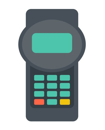 reader: A credit card reader machine. A contemporary style. Vector flat design illustration with isolated white background. Vertical layout