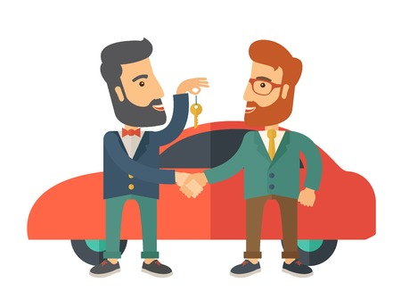 A Car sale handed to other man. A Contemporary style with pastel palette. Vector flat design illustration isolated on white background.