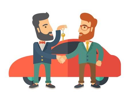 manos entrelazadas: Una venta de coches entregó a otro hombre. Un estilo contemporáneo con la paleta de colores pastel. Vector diseño plano ilustración aislado sobre fondo blanco. Vectores