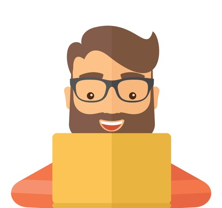 using laptop: Man making a purchase using laptop with internet in online shopping with promo discount. A contemporary style. Vector flat design illustration with isolated white background. Square layout.