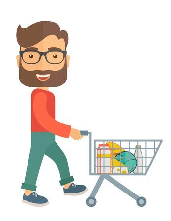 Un acheteur mâle poussant un panier à l'intérieur du supermarché. Un style contemporain. Vector design plat illustration sur fond blanc isolé. Présentation verticale. Illustration