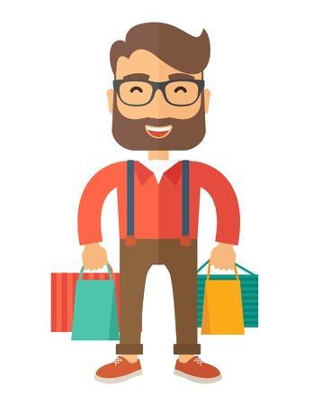 persona alegre: Un hombre de negocios divertido con bolsas de la compra. Un estilo contemporáneo. Vector diseño plano ilustración con fondo blanco aislado. Diseño vertical.