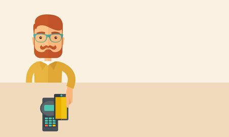 deign: A credit card machine and smartphone as use for internet shopping.  A Contemporary style with pastel palette, soft beige tinted background. Vector flat design illustration. Horizontal layout with text space in right side.