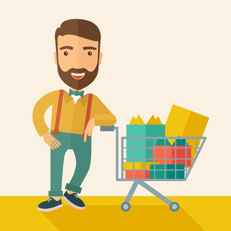 tinted: A happy man standing with his shopping cart. . A Contemporary style with pastel palette, soft beige tinted background. Vector flat design illustration. Square layout.