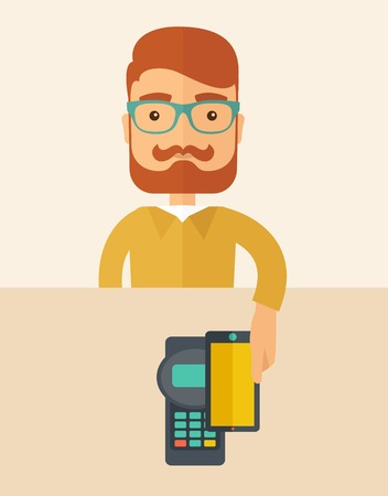 mobile banking: A credit card machine and smartphone as use for internet shopping.  A Contemporary style with pastel palette, soft beige tinted background. Vector flat design illustration. Vertical, layout.