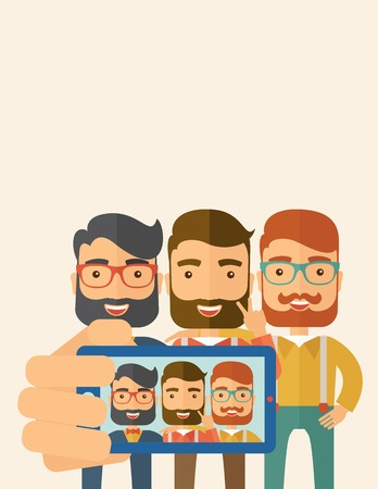 using smartphone: A three happy men taking a selfie using smartphone. A Contemporary style with pastel palette, soft beige tinted background. Vector flat design illustration. Vertical layout with text space on top part.
