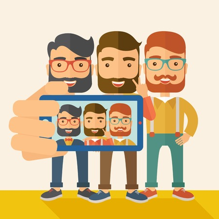 A three happy men taking a selfie using smartphone. A Contemporary style with pastel palette, soft beige tinted background. Vector flat design illustration. Square layout.