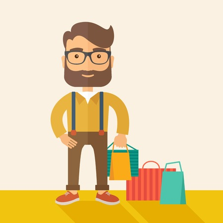 A man who go shopping with paper bags.  A Contemporary style with pastel palette, soft beige tinted background. Vector flat design illustration. Square layout.