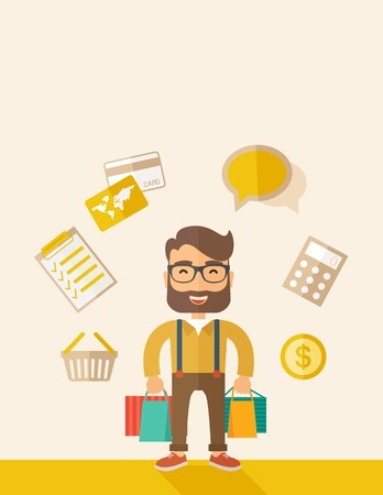 purchasing manager: A funny businessman with shopping bags and checklist, calculator, basket, credit card and money around. A Contemporary style with pastel palette, soft beige tinted background. Vector flat design illustration. vertical layout with text space on top part.