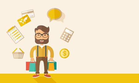 purchasing manager: A funny businessman with shopping bags and checklist, calculator, basket, credit card and money around. A Contemporary style with pastel palette, soft beige tinted background. Vector flat design illustration. Horizontal layout with text space in right sid