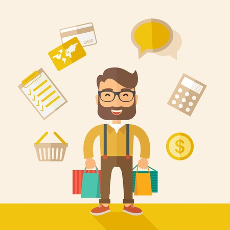 purchasing manager: A funny businessman with shopping bags and checklist, calculator, basket, credit card and money around. A Contemporary style with pastel palette, soft beige tinted background. Vector flat design illustration. Square layout.