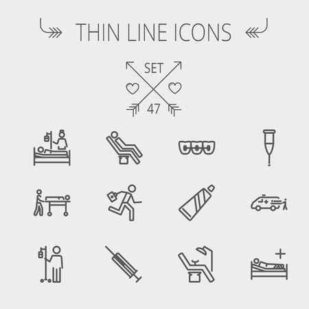 blood line: Medicine thin line icon set for web and mobile. Set includes-teeth braces, toothpaste, dental chair, syringe, crutch, ambulance, patient, IV  icons. Modern minimalistic flat design. Vector dark grey icon on light grey background.