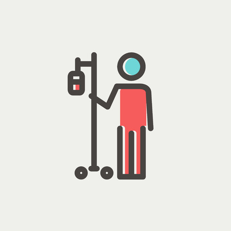 saline: Patient standing with intravenous saline solution icon thin line for web and mobile, modern minimalistic flat design. Vector icon with dark grey outline and offset colour on light grey background.