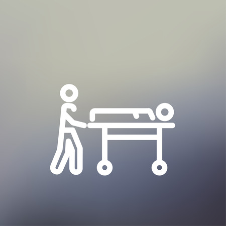 stretcher: Man pushing the stretcher with sick person icon thin line for web and mobile, modern minimalistic flat design. Vector white icon on gradient mesh background. Illustration