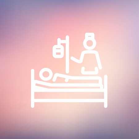lying in bed: Nurse attending a sick patient icon thin line for web and mobile, modern minimalistic flat design. Vector white icon on gradient mesh background.
