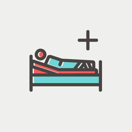 sickbed: Patient is lying on medical bed icon thin line for web and mobile, modern minimalistic flat design. Vector icon with dark grey outline and offset colour on light grey background.