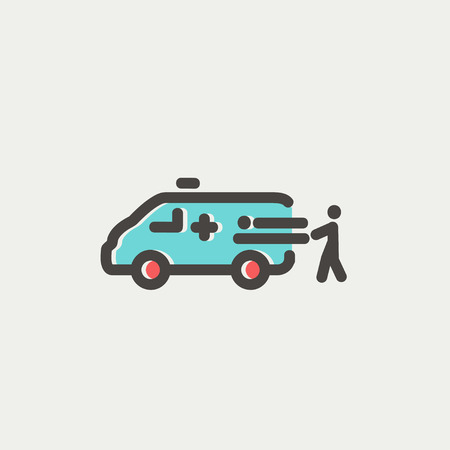 man and ambulance car icon thin line for web and mobile modern minimalistic flat design - Ambulance Pictures To Colour