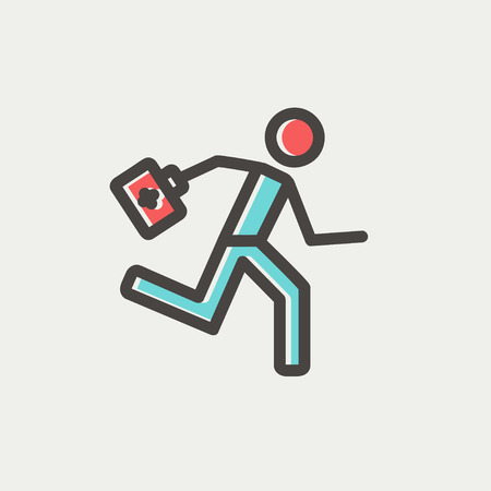 Paramedic running with first aid kit icon thin line for web and mobile, modern minimalistic flat design. Vector icon with dark grey outline and offset colour on light grey background.  イラスト・ベクター素材