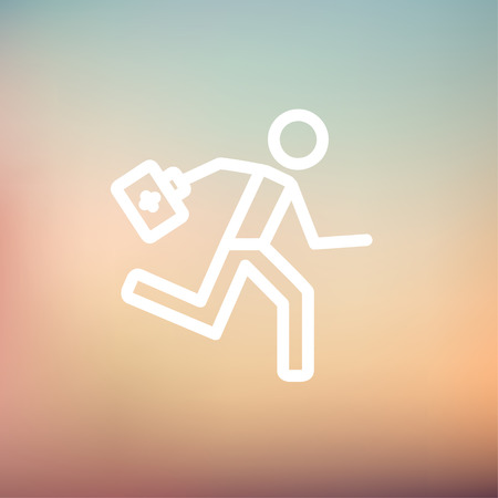 paramedic: Paramedic running with first aid kit icon thin line for web and mobile, modern minimalistic flat design. Vector white icon on gradient mesh background.