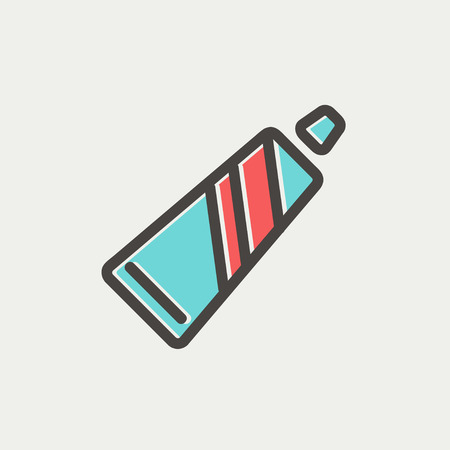 Tube of toothpaste icon thin line for web and mobile, modern minimalistic flat design. Vector icon with dark grey outline and offset colour on light grey background.