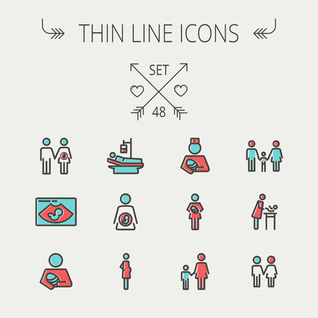 Medicine thin line icon set for web and mobile. Set include- sick person, pregnant, wife and husband, ultrasound, baby, nurse, family, siblingsicons. Modern minimalistic flat design. Vector icon with dark grey outline and offset colour on light grey backg