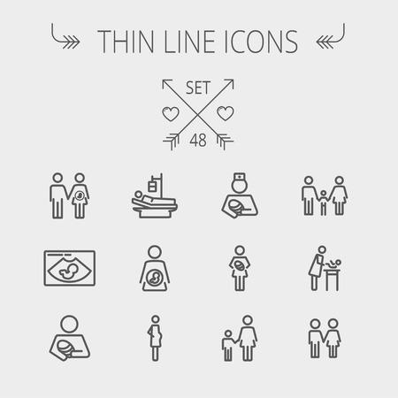 가족: 의학 얇은 선 아이콘은 웹과 모바일을 설정합니다. 아픈 사람, 임신, 아내와 남편, 초음파, 자기, 간호사, 가족, 형제 자매의 아이콘을 includes- 설정합니다. 현대 최소한
