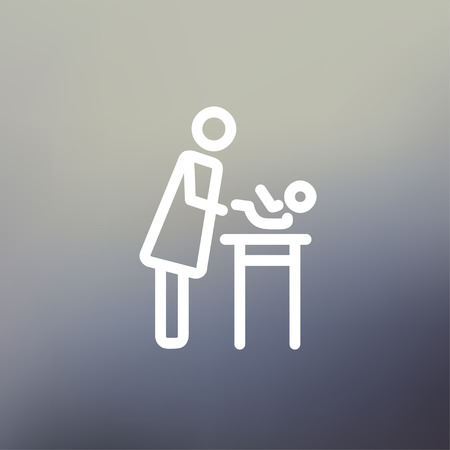Woman changing the diaper icon thin line for web and mobile, modern minimalistic flat design. Vector white icon on gradient mesh background. Vettoriali