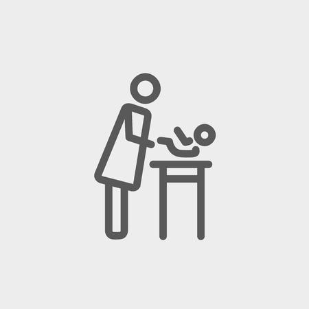 Woman changing the diaper icon thin line for web and mobile, modern minimalistic flat design. Vector dark grey icon on light grey background. Vector