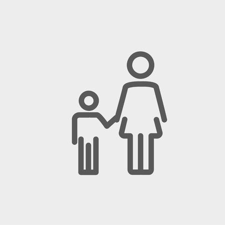 엄마와 아이 아이콘 웹 및 모바일 얇은 선, 현대 최소한의 평면 디자인. 밝은 회색 배경에 벡터 어두운 회색 아이콘입니다.